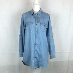 Timing Button Up Denim Collared Top Rollup…